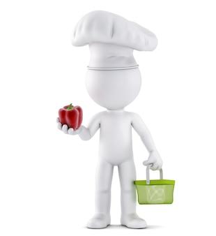 장바구니를 들고 있는 요리사는 야채 3d 일러스트레이션을 검사합니다.