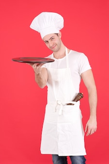 Chef with a tray wood
