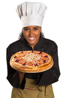 Chef woman giving pizza isolated on white space