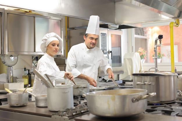 Chefs working in a restaurant