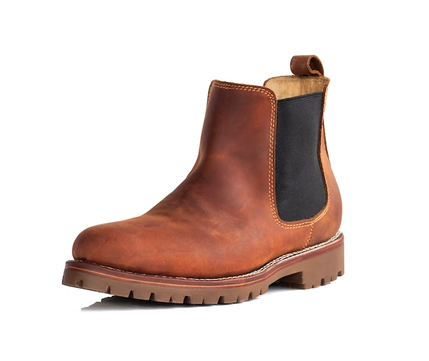 Chelsea boot with oil full grain leather isolated on white. clipping path