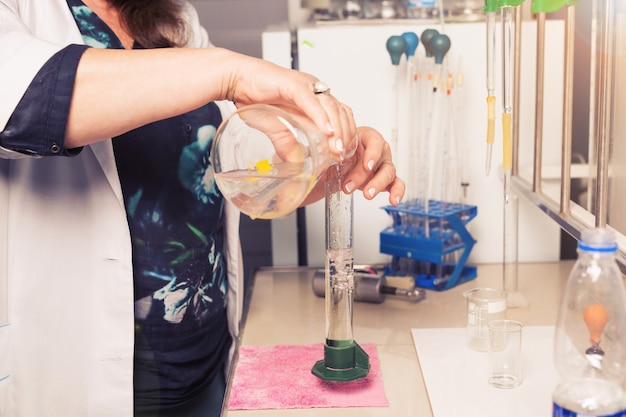 Chemical analysis of mineral water. biological test of the water.