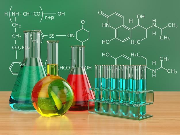 化学フラスコと処方の黒板。 3d