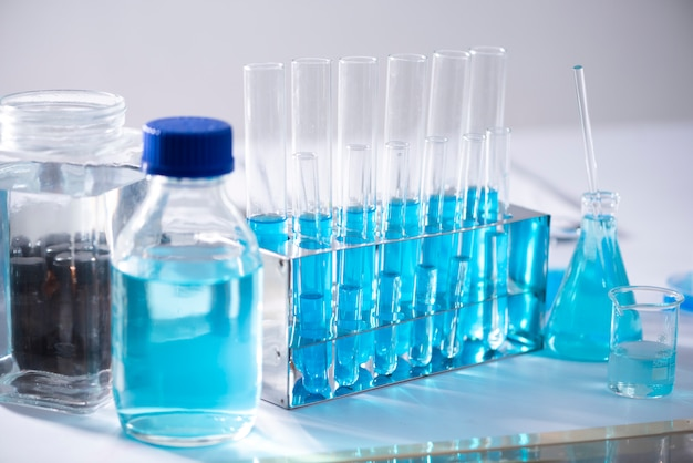 Chemical laboratory equipment glassware for research and blue matter
