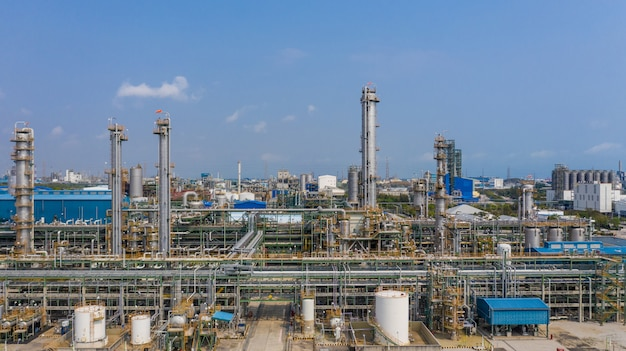 Chemical plant, chemical factory, industrial plant with blue sky, aerial view.