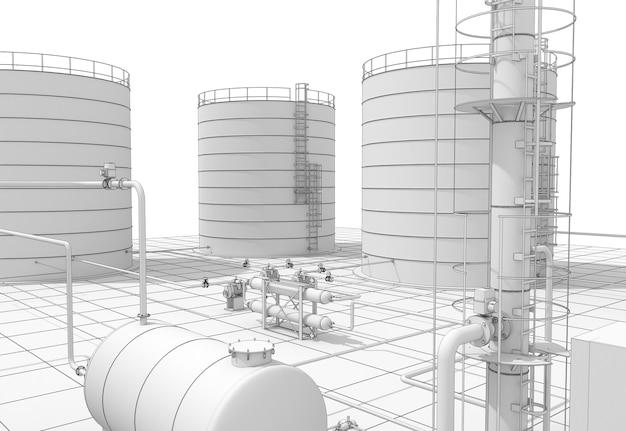 化学製品、廃棄物処理プラント、外部の視覚化