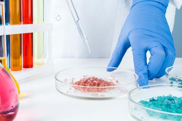 科学者が行うペトリ皿の化学研究をクローズアップ