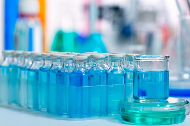 Chemical scientific laboratory blue glass bottles
