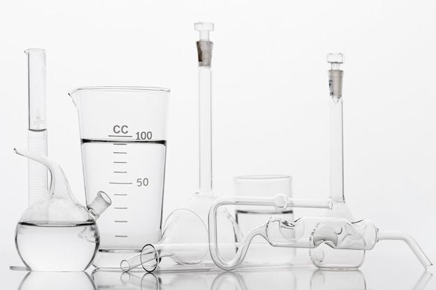 Chemicals composition in lab with white background