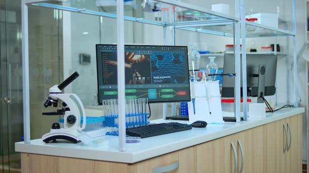 Химическая лаборатория, в которой никого нет, современно оснащенная, подготовленная для фармацевтических инноваций с использованием высокотехнологичных и микробиологических инструментов для научных исследований. разработка вакцины против вируса covid19