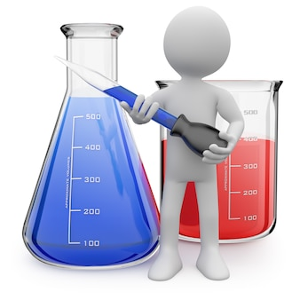 Химик позирует с пробирками