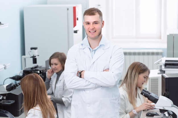 Chemistry biology medical concept with people