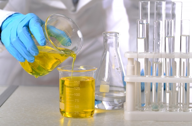 In the chemistry lab, women scientists are doing experiments