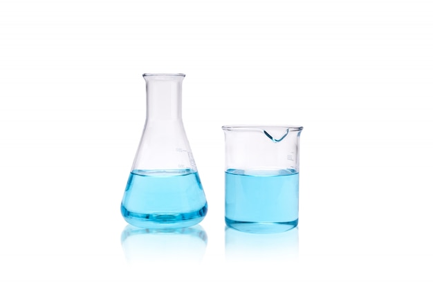 Chemistry laboratory research beaker and test tube