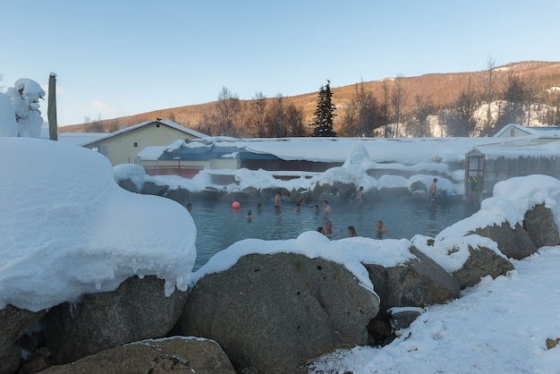 Chena hot spring on the top of mountain in alaska during winter, alaska usa