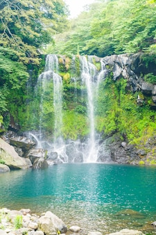 Cheonjeyeon waterfalls in jeju isaland