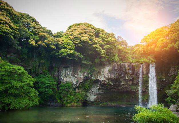 천지연 폭포는 대한민국 제주도의 폭포입니다. 천지연이라는 이름은 하늘을 의미합니다. 이 사진은 한국의 제주도 장소 홍보에 잘 사용됩니다. 제주는 잘 알려진 섬입니다.