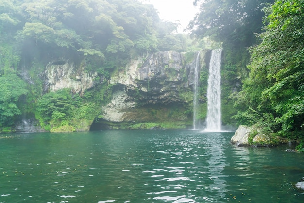 Cheonjiyeon waterfalls in jeju island