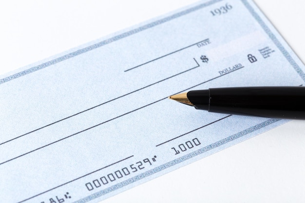 Cheque with pen