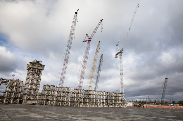 Chernobyl nuclear power plant. cranes at the object shelter