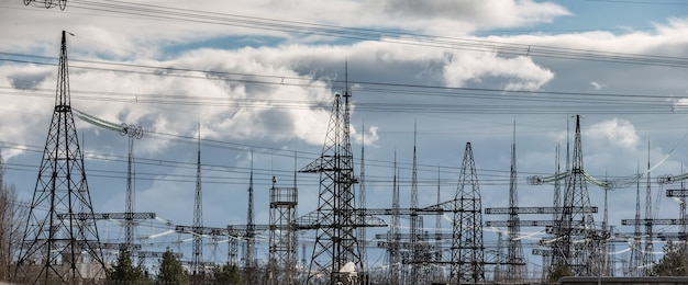 Chernobyl nuclear power plant. transformer substation and high-voltage power lines
