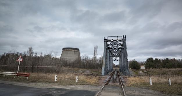 체르노빌 원자력 발전소. 수냉식 타워. 원자력 발전소의 냉각탑