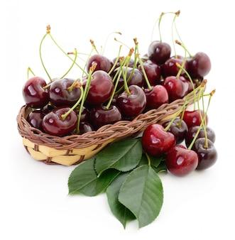 Cherries in basket.