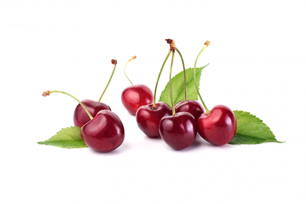 Cherries close up isolated on white
