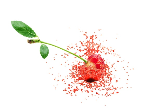 Cherries and juice splash on a white background