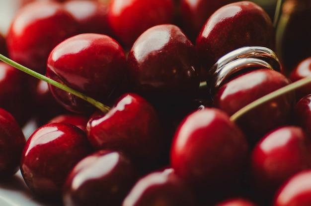 Cherries seen from near