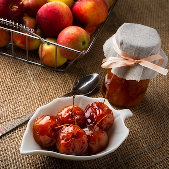 Cherry apples covered in syrup
