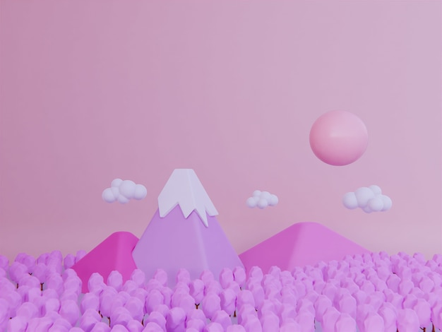 Cherry blossom pink mountain background