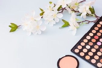 Cherry blossom twig with blusher and eyeshadow palette on blue backdrop