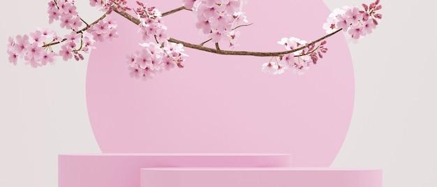 Вишневый цвет и геометрический розовый подиум на белом фоне для презентации продукта 3d-рендеринга