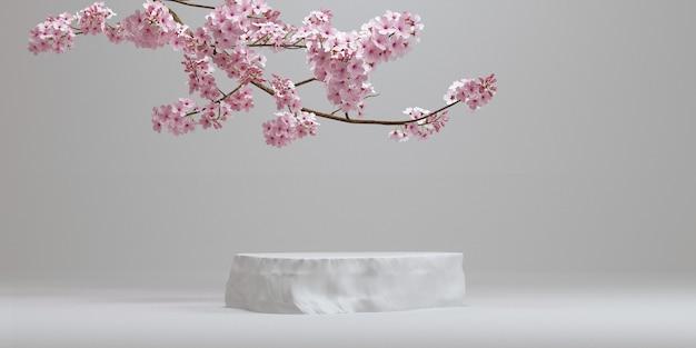 벚꽃과 돌 연단 흰색 background.for 브랜딩 및 제품 프레젠테이션.3d 렌더링 그림.