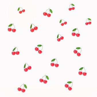 チェリーフルーツの3 dパターン図は、白い背景で隔離してレンダリングします。