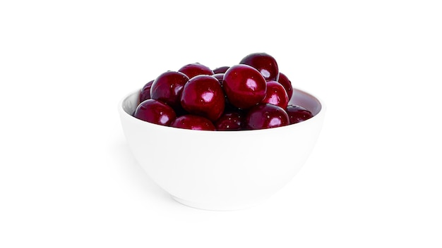 Cherry isolated on a white background. sweet cherry berries on a white background. red berries are isolated. high quality photo