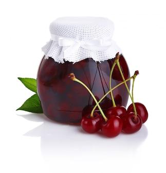 Cherry jam isolated