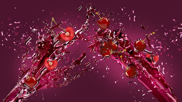 Cherry juice splash background