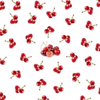 フラットスタイルの白い背景の上面図に分離された桜のパターン
