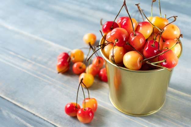 Cherry in a small bucket