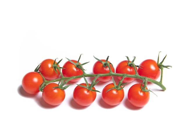 白い背景で隔離のチェリートマトの枝。赤いトマト。枝にトマト。孤立した背景。