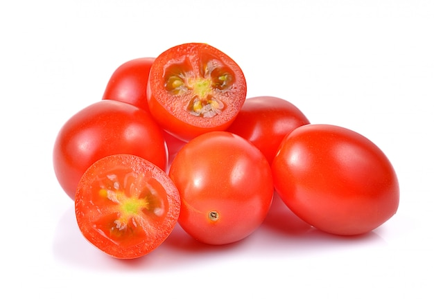 Cherry tomatoes isolated on white space.