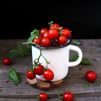 Cherry tomatoes in a mug