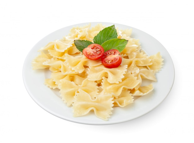Cherry tomatoes and pasta. isolated