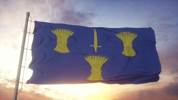 Cheshire flag, england, waving in the wind, sky and sun background. 3d rendering.