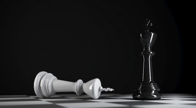 Шахматный черный король стоит рядом с белым шахматным королем, побежденным на 3d-иллюстрации