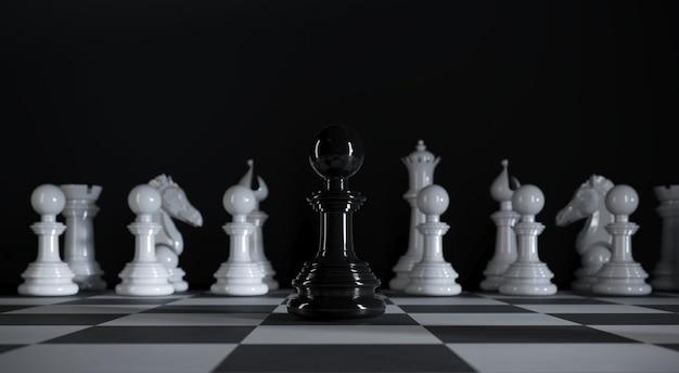 Шахматная черная лапа стоит среди различных белых шахматных фигур на 3d иллюстрации