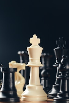 Chess on board business concept