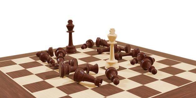 チェス盤ゲーム競争ビジネスと白い背景の上のチェス戦略の概念勝利のための戦い